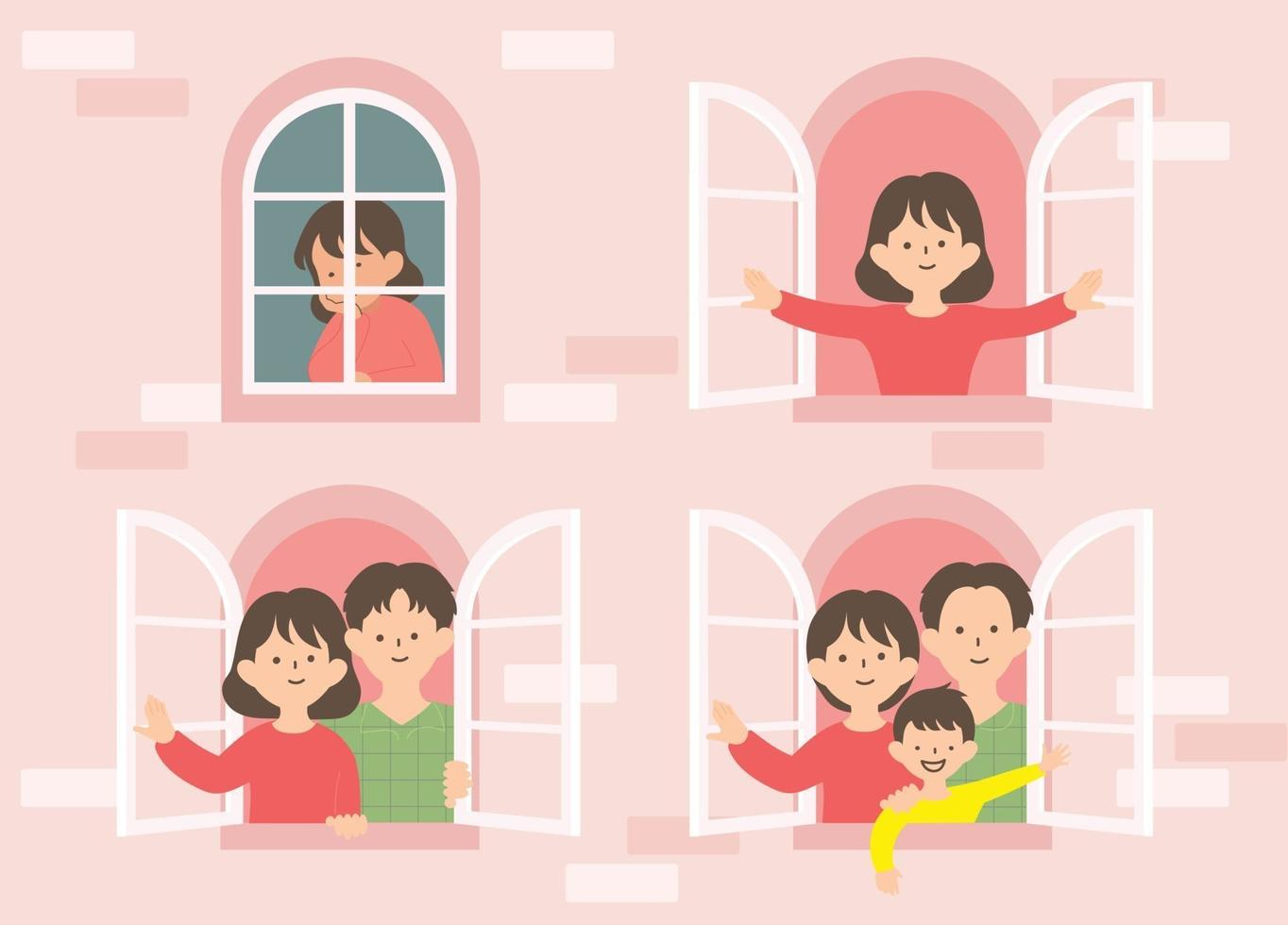 A window showing the process of a woman making a family. hand drawn style vector design illustrations.