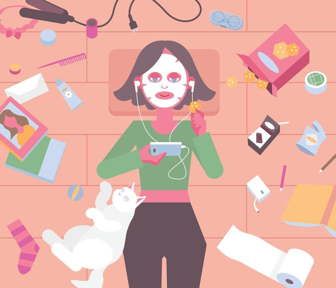 A girl is lying in a messy room, wearing a mask pack and listening to music. hand drawn style vector design illustrations.