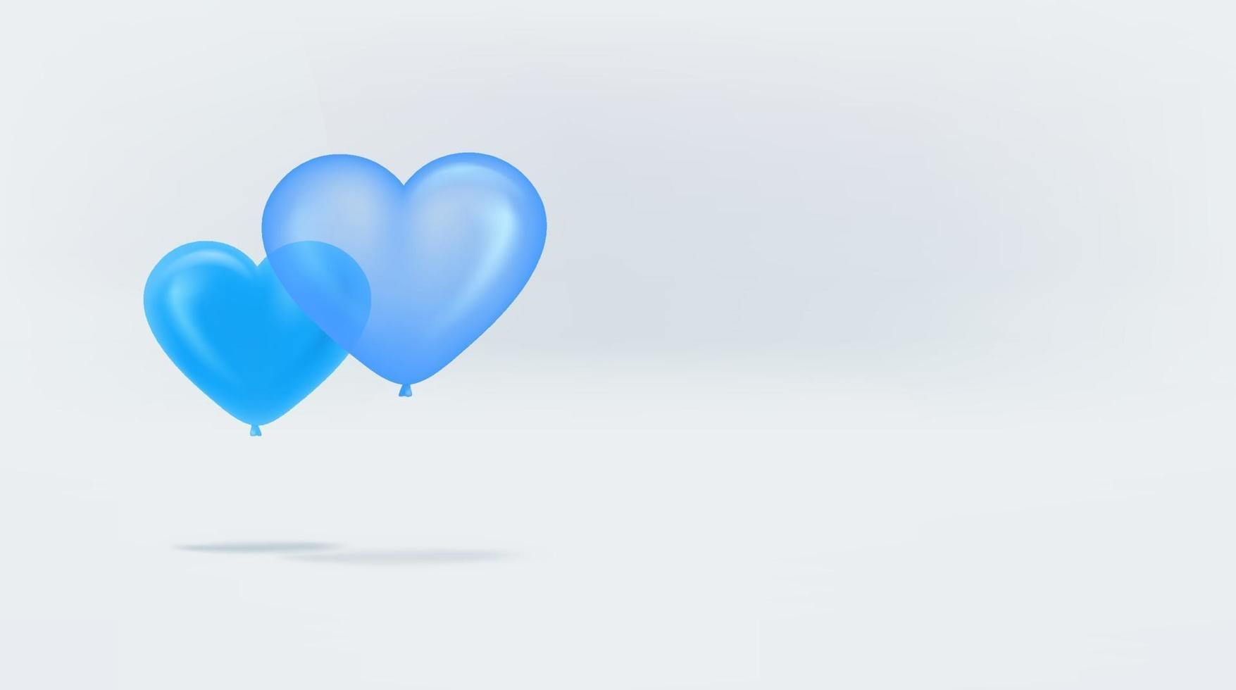 Globos de aire de corazón azul sobre fondo blanco. banner con espacio de copia listo para un texto vector