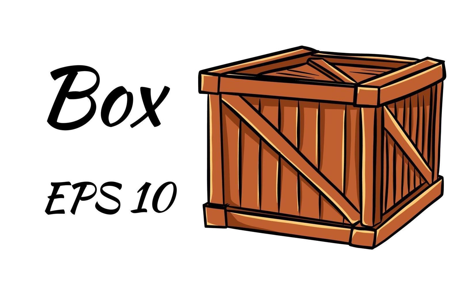 Caja de madera cerrada en tres cuartos. vector