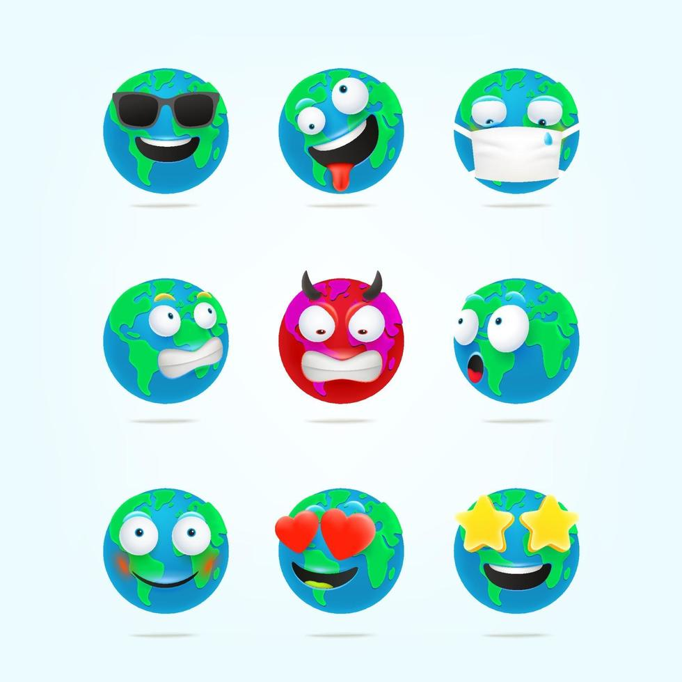 Lindo conjunto de vectores de emoticonos de personajes de tierra. Personajes divertidos de la tierra de estilo 3d
