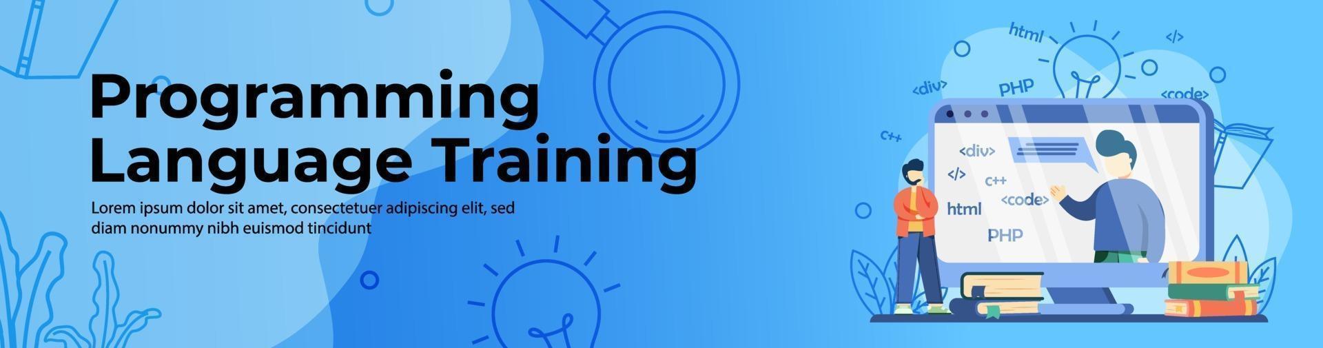 Programming language training Web Banner vector