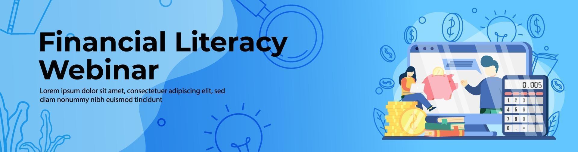 Financial Literacy Webinar Web Banner Design vector