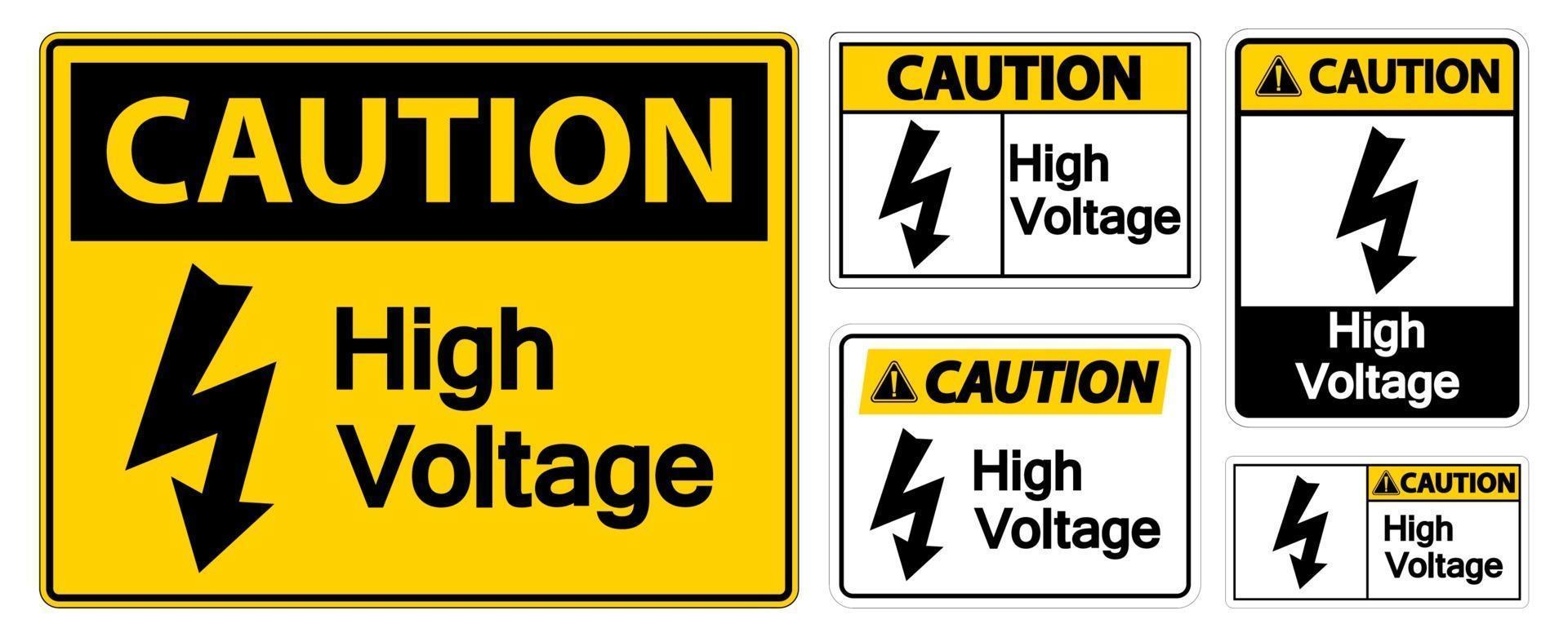 Caution High voltage Sign Isolate On White Background,Vector Illustration EPS.10 vector