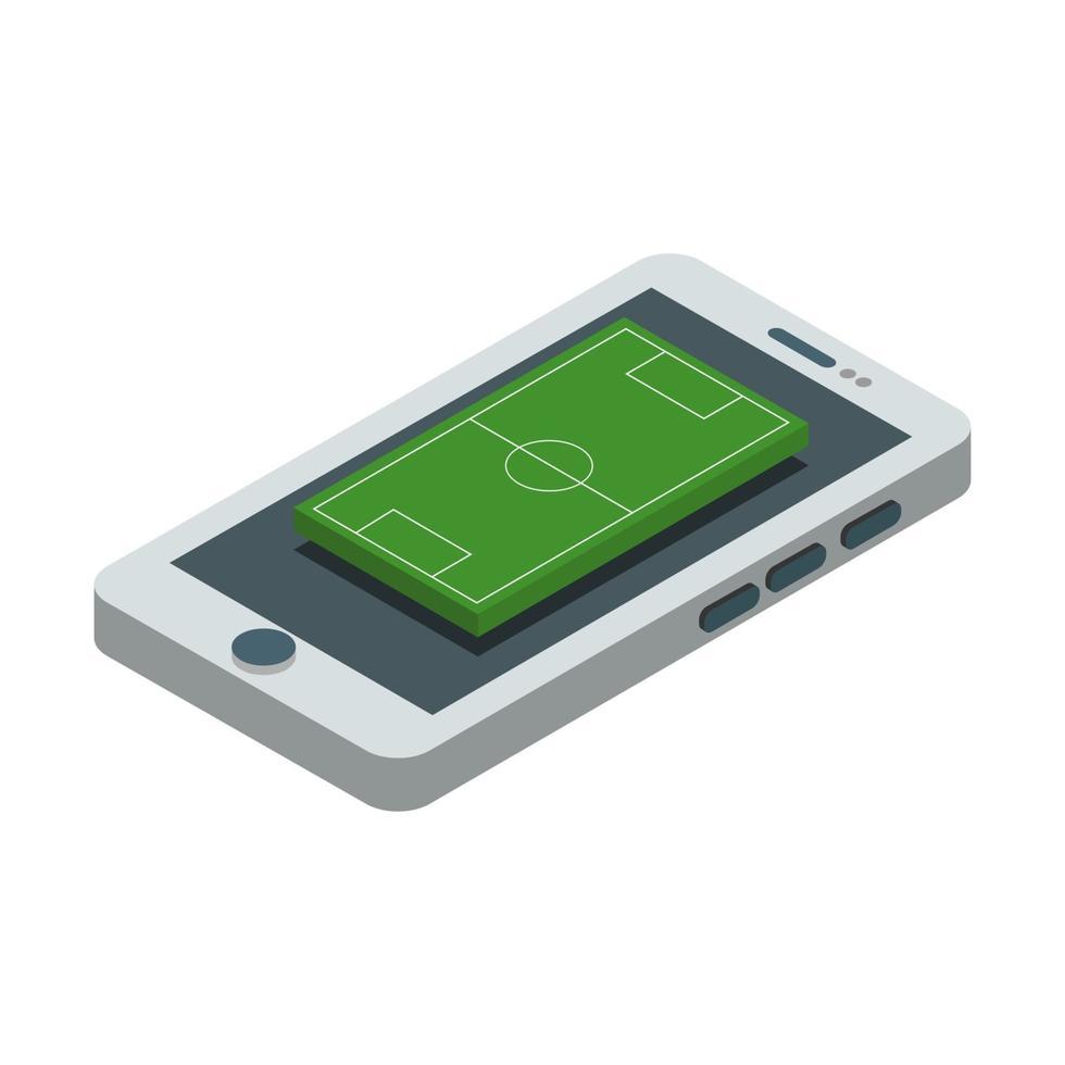 campo de fútbol en el teléfono inteligente isométrico vector