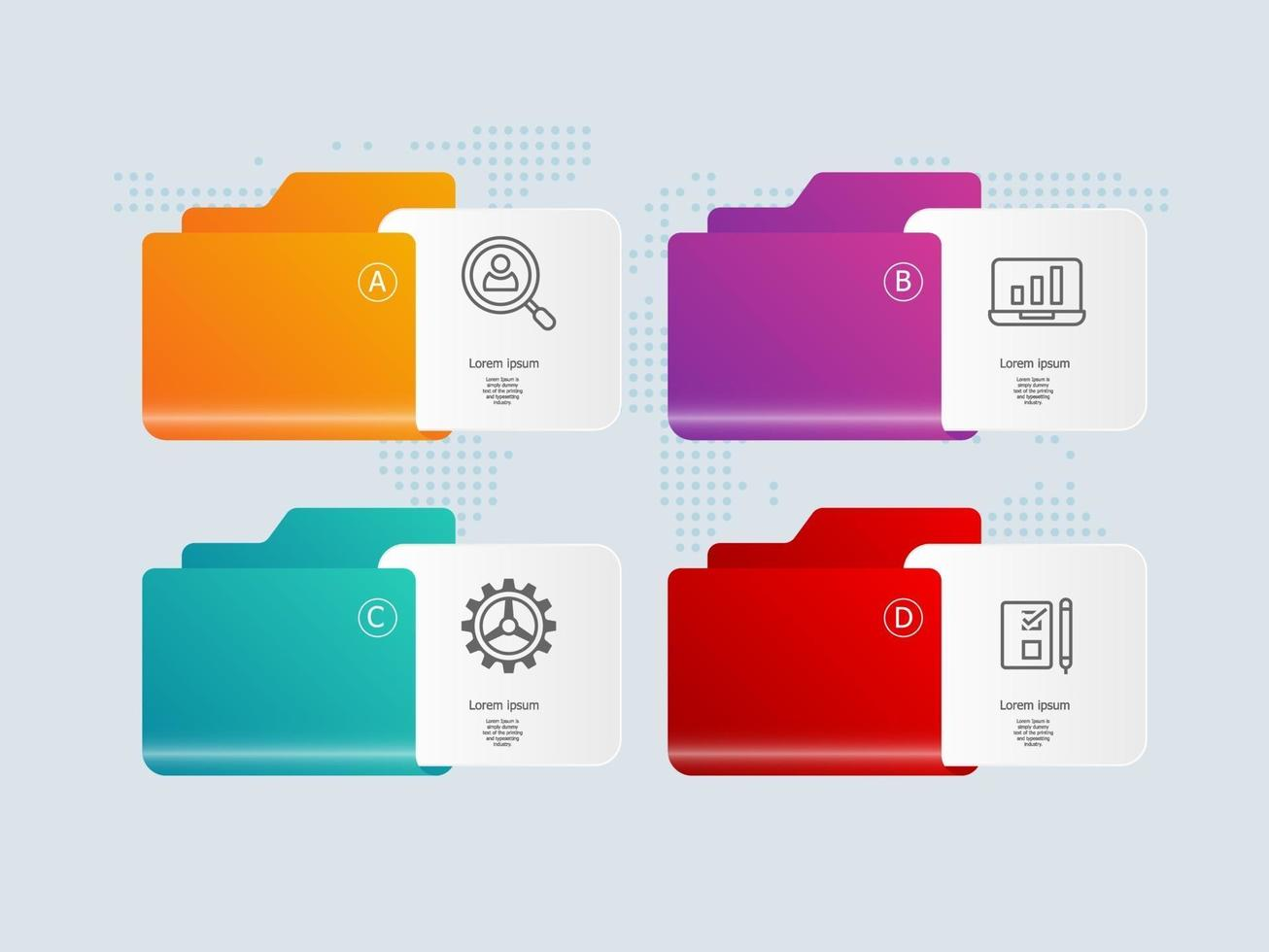 folder infographic presentation element tamplate with business icons vector