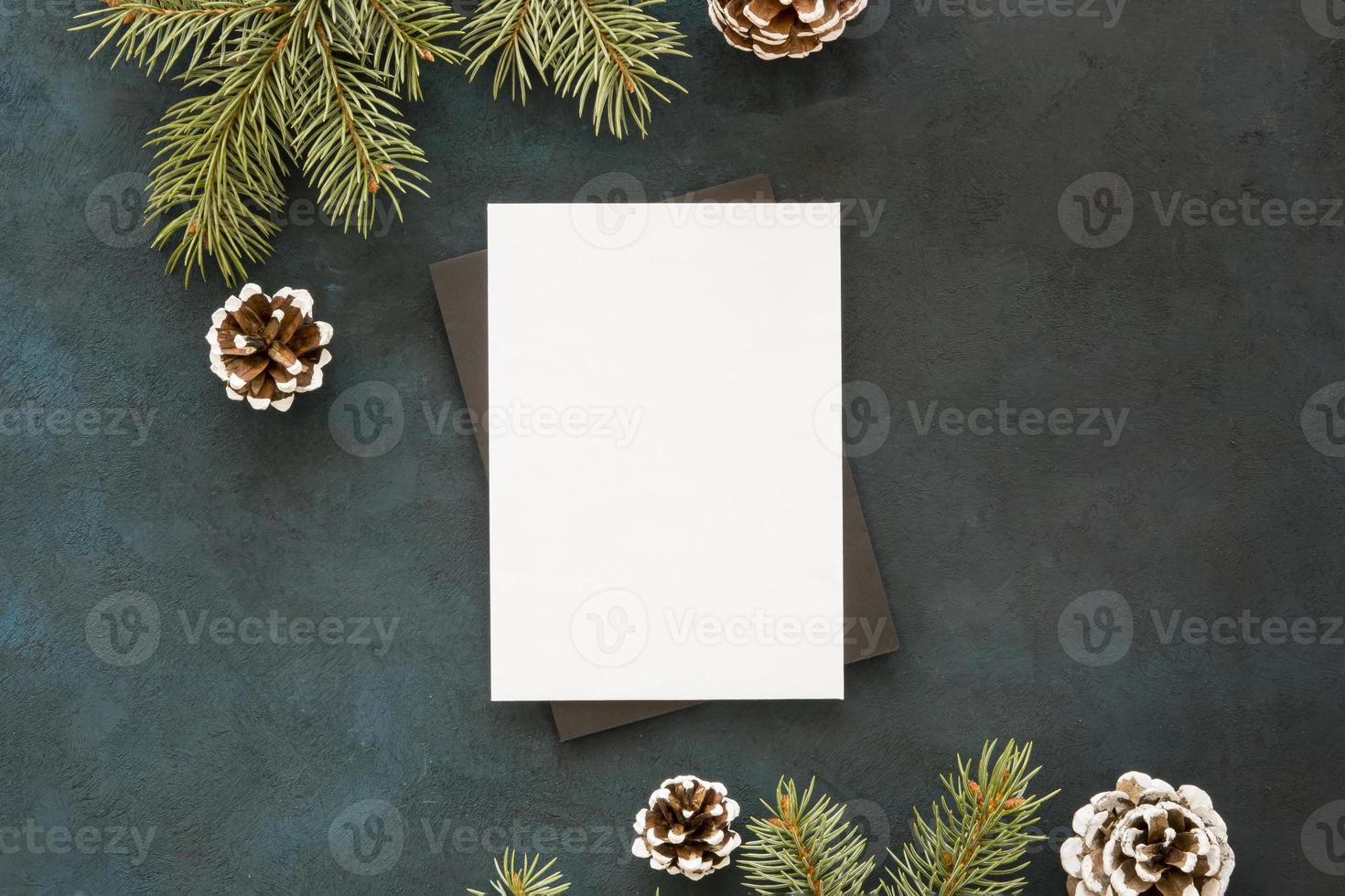 Blank paper surrounded by pine leaves and cones photo