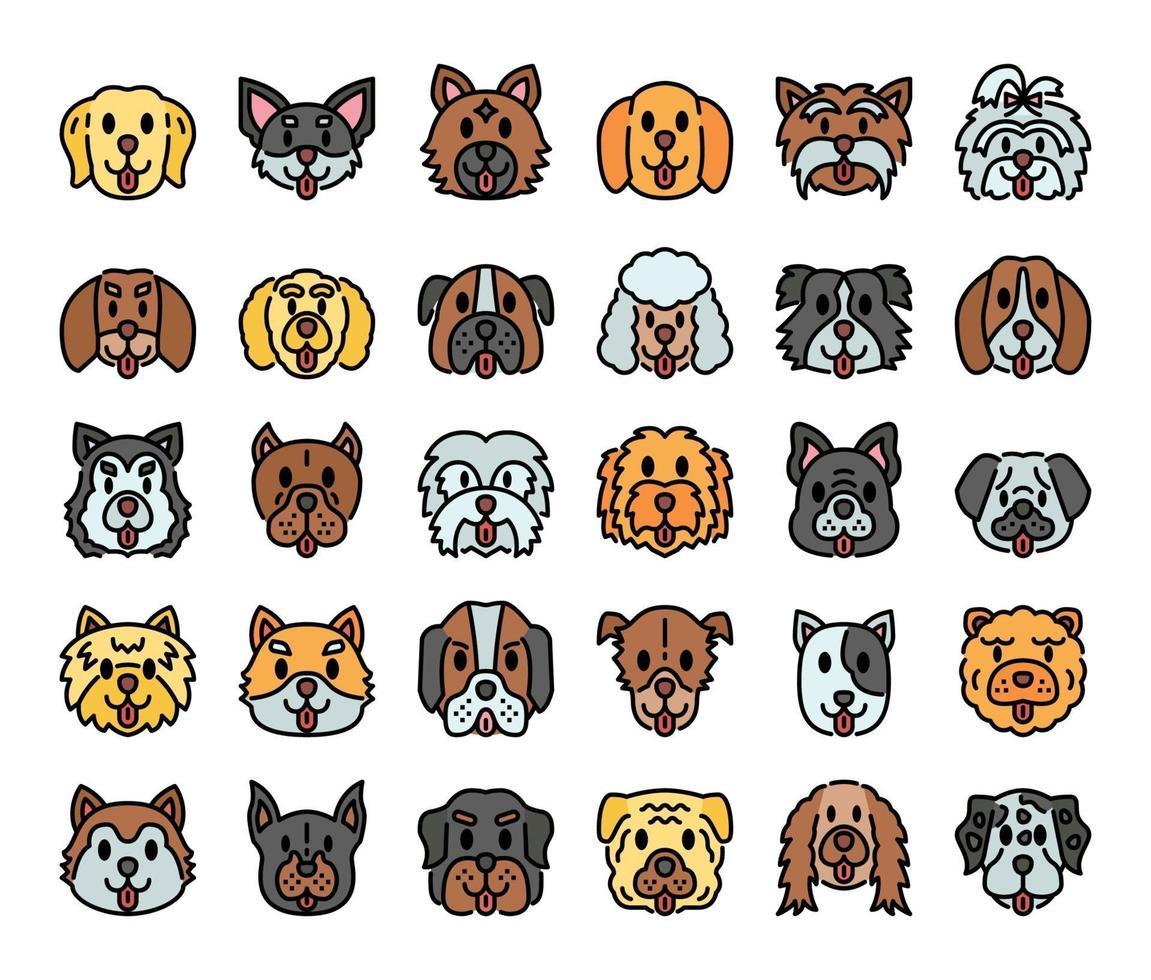iconos de vector de contorno de color de razas de perros