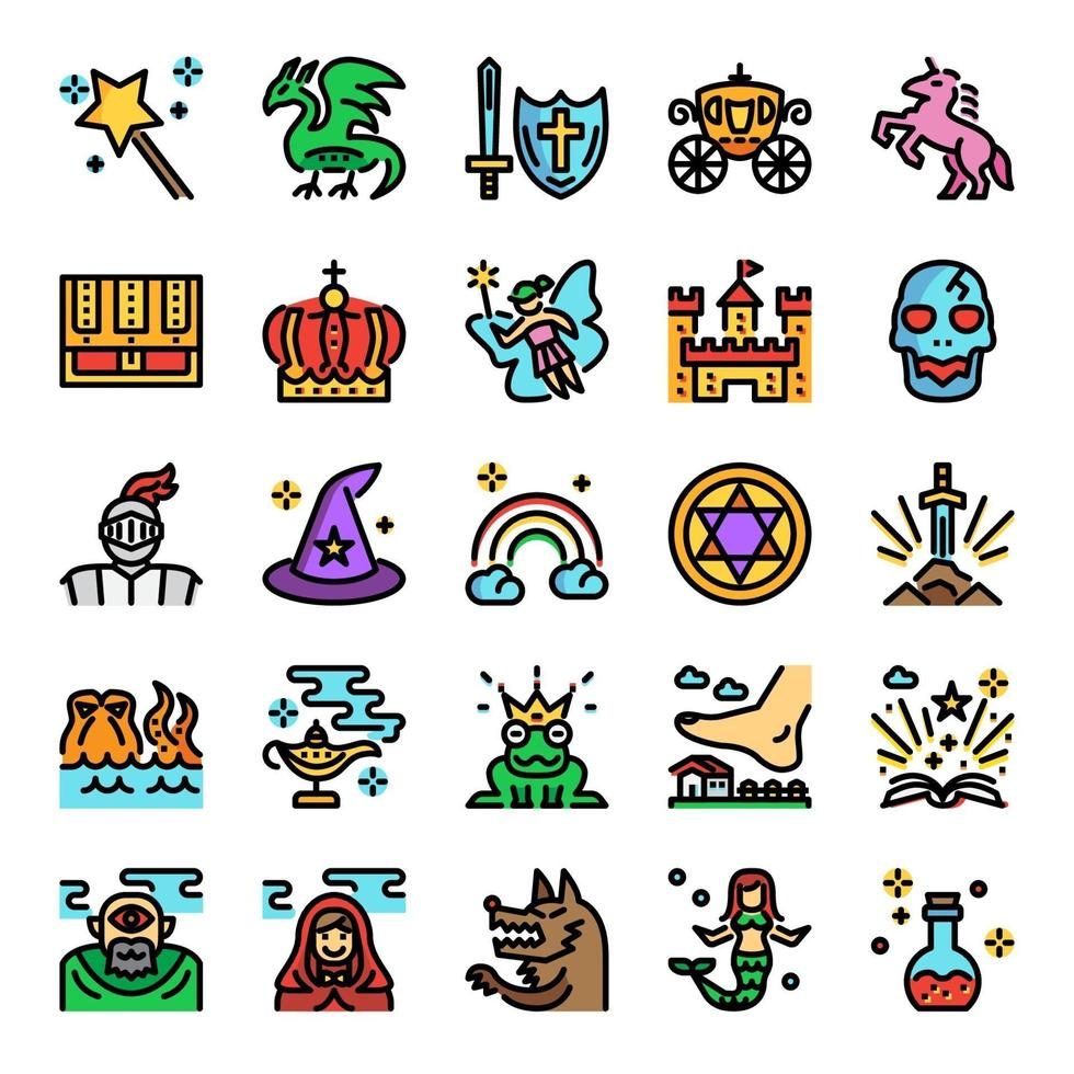 fairy tale color line pixel perfect icons vector