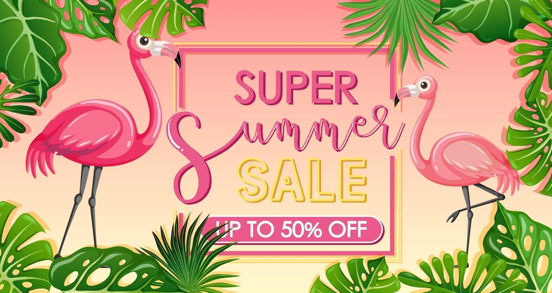 Super Summer Sale banner with flamingo and tropical leaves vector