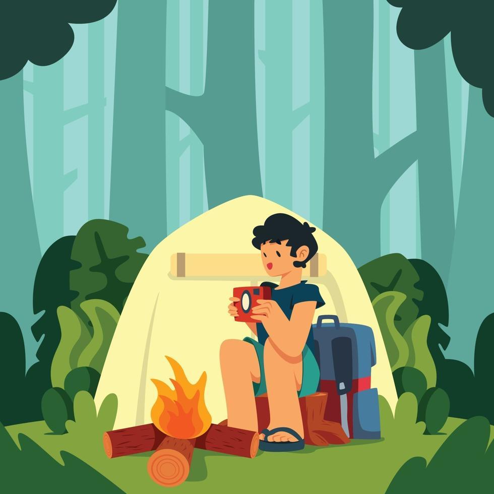 concepto de diseño de campamento de verano vector