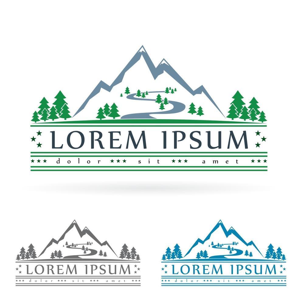 Mountain logo Mountain river vector