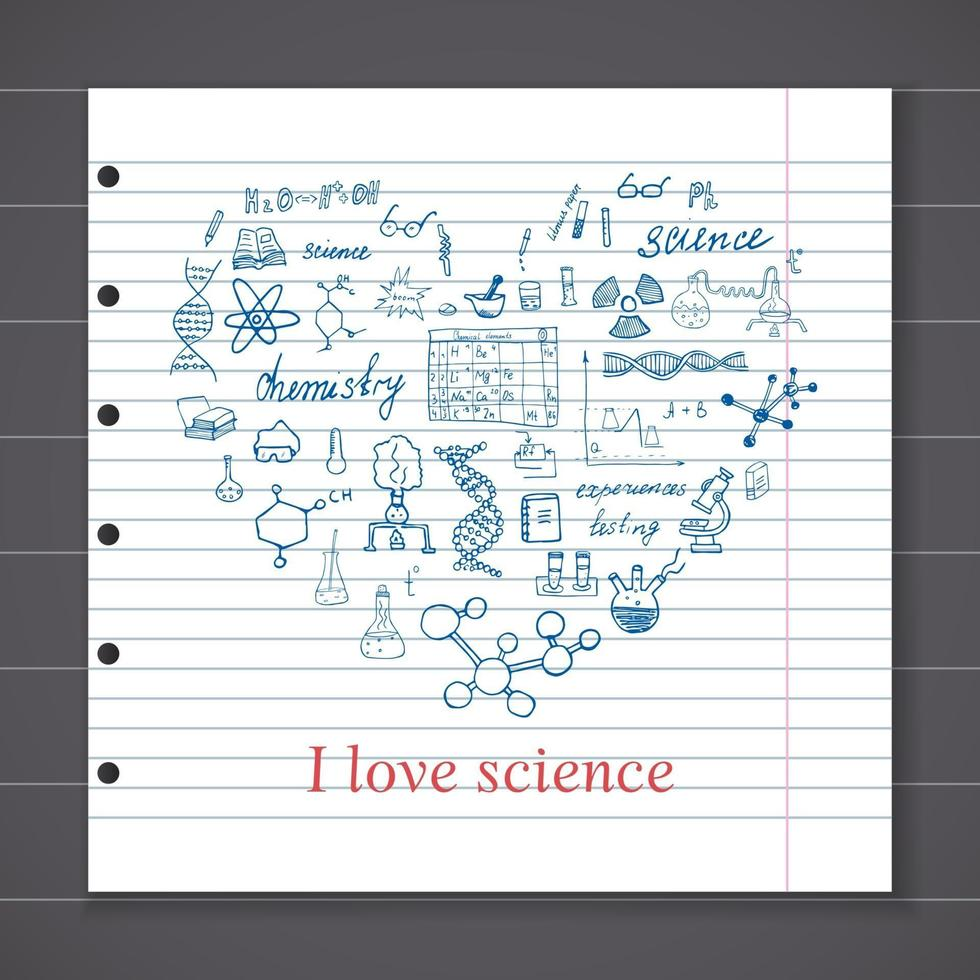 Chemistry and sciense elements doodles icons set. Hand drawn sketch with microscope, formulas, experiments equipment, analysis tools, vector illustration on chalkboard background