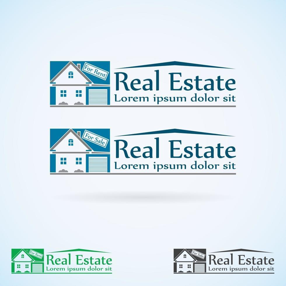 house with garage logo estate vector