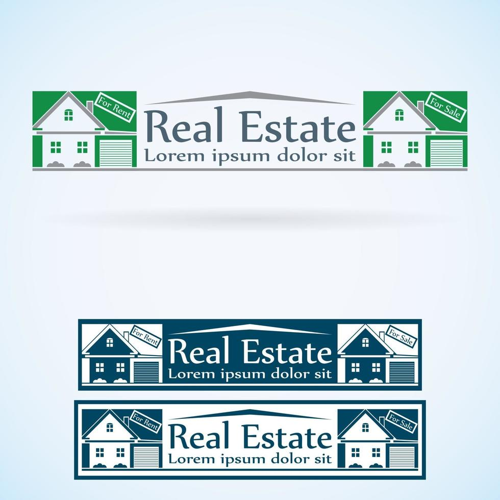 house with garage logo real estate vector