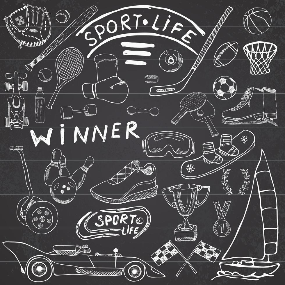 Sport life sketch doodles elements. Hand drawn set with baseball bat, glove, bowling, hockey tennis items, race car, cup medal, boxing, winter sports. Drawing collection, on chalkboard background vector