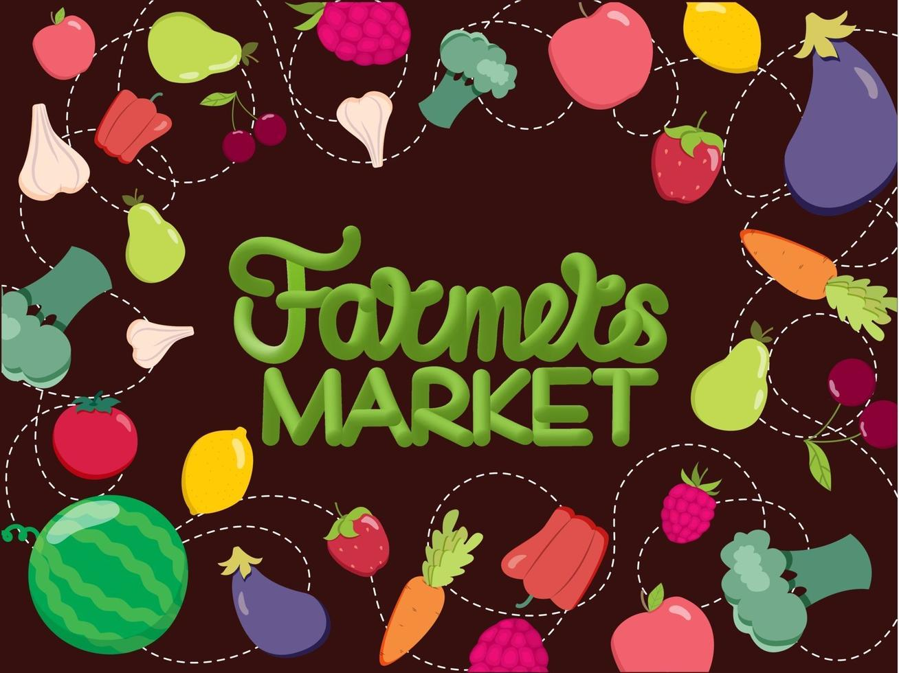 Fruit and vegetable background and hand lettering farmers market. Vector illustration. Healthy food concept