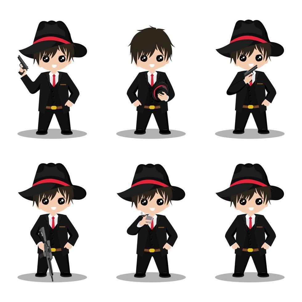 Ilustración de diseño de vector de mascota de personaje de dibujos animados lindo mafia
