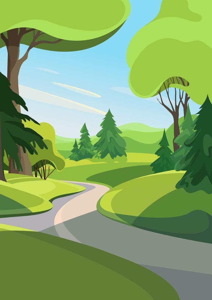 camino fuera del bosque. paisaje de verano en orientación vertical. vector