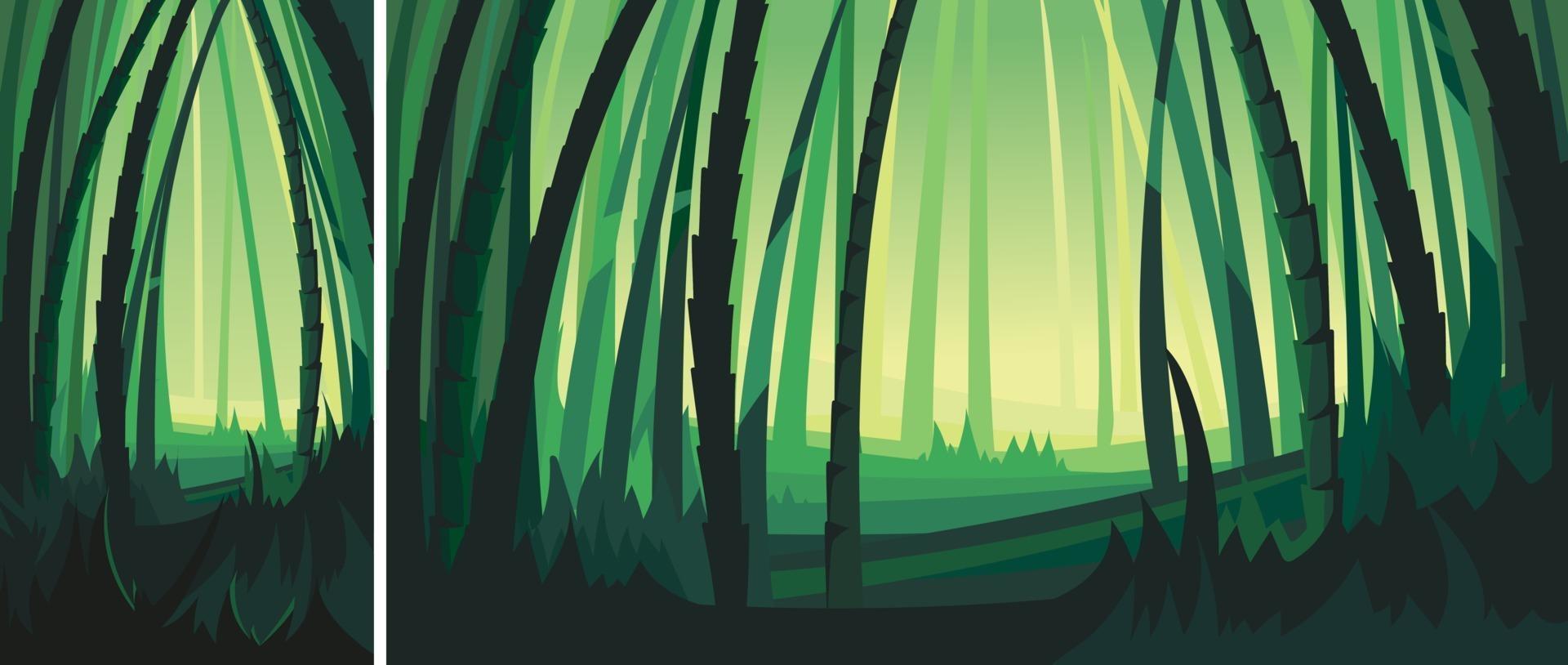 paisaje con árboles de bambú. Escenografía natural en orientación vertical y horizontal. vector