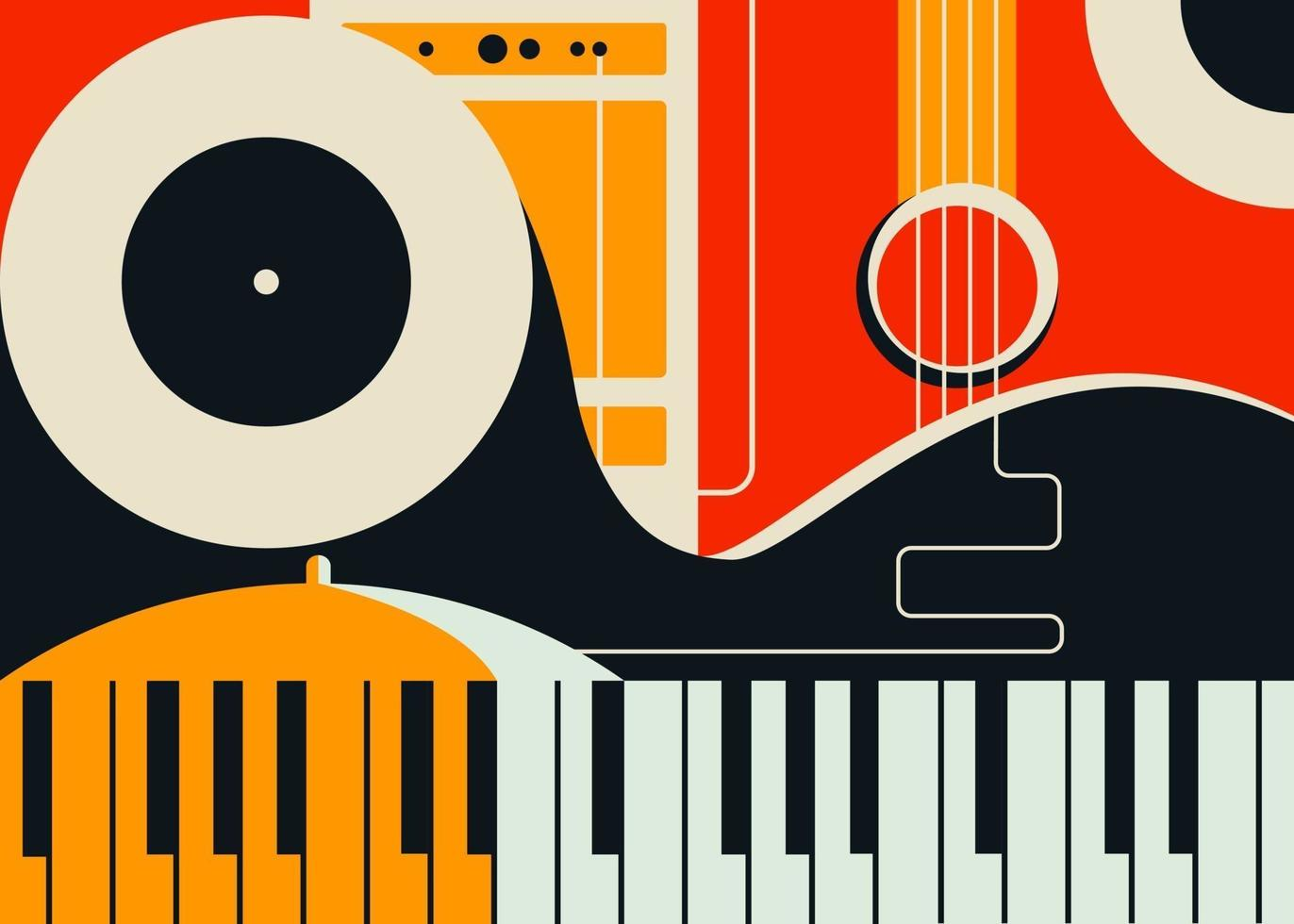 Banner template with abstract musical instruments. vector