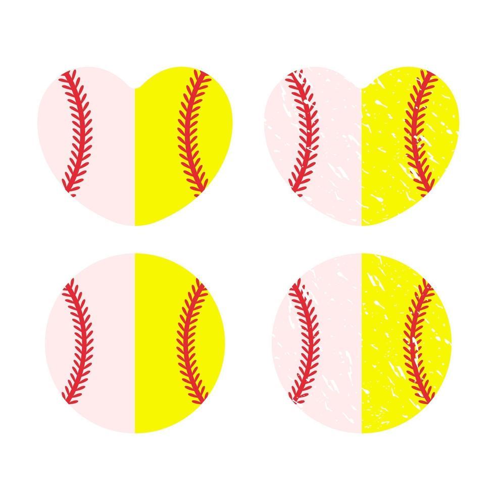 hermoso juego de pelota de béisbol de puntada roja vector