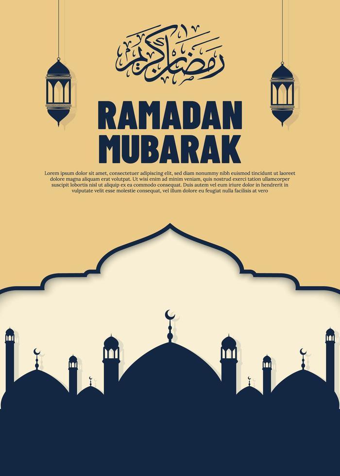 hermoso banner de Ramadán vector