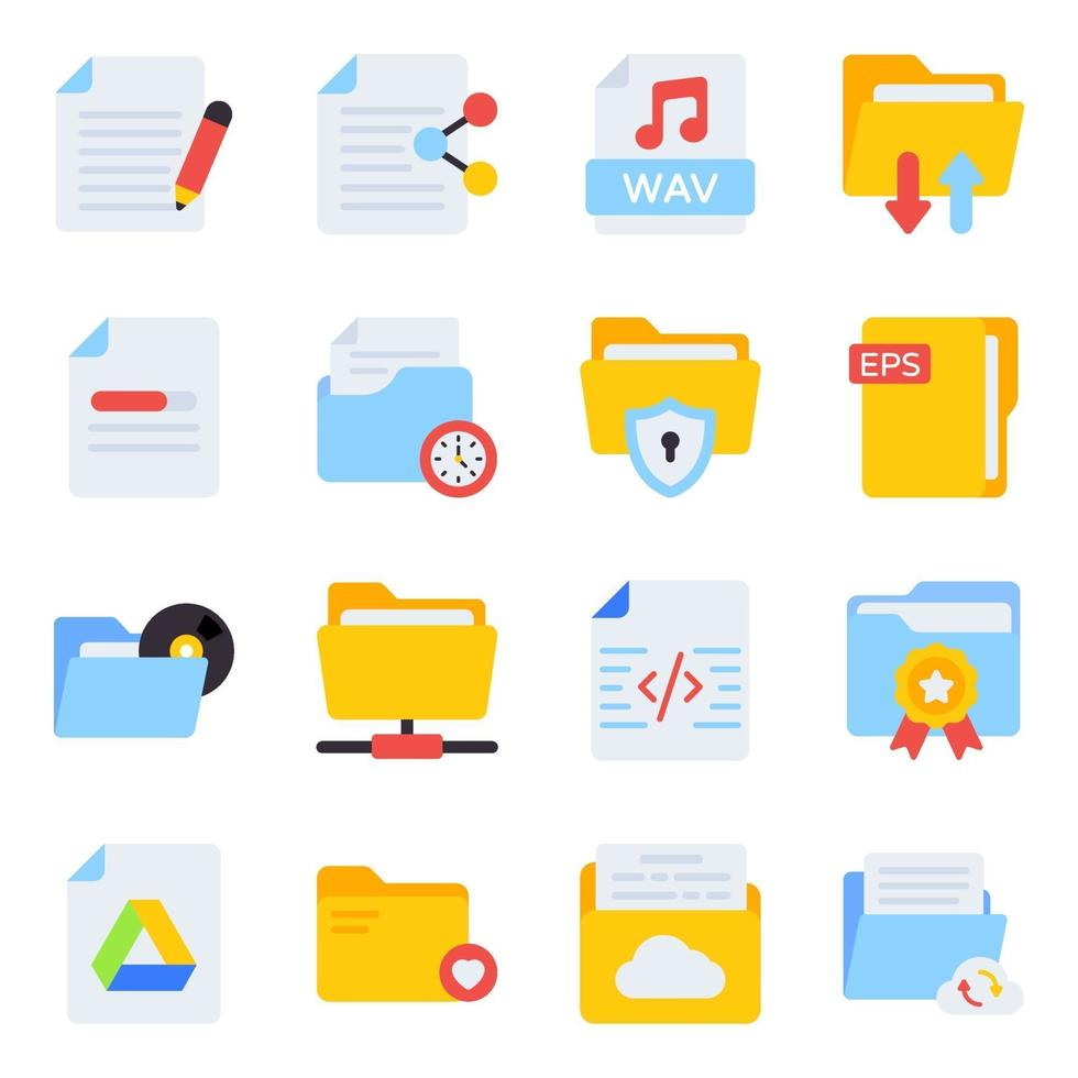 paquete de archivos y carpetas iconos planos vector