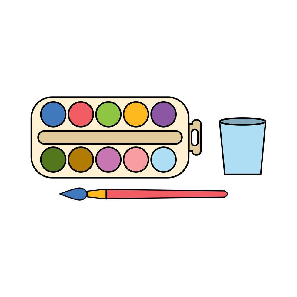 ilustración en color de material de pintura vector