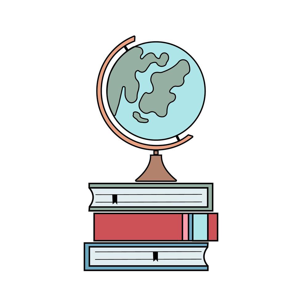 globo y libros vector