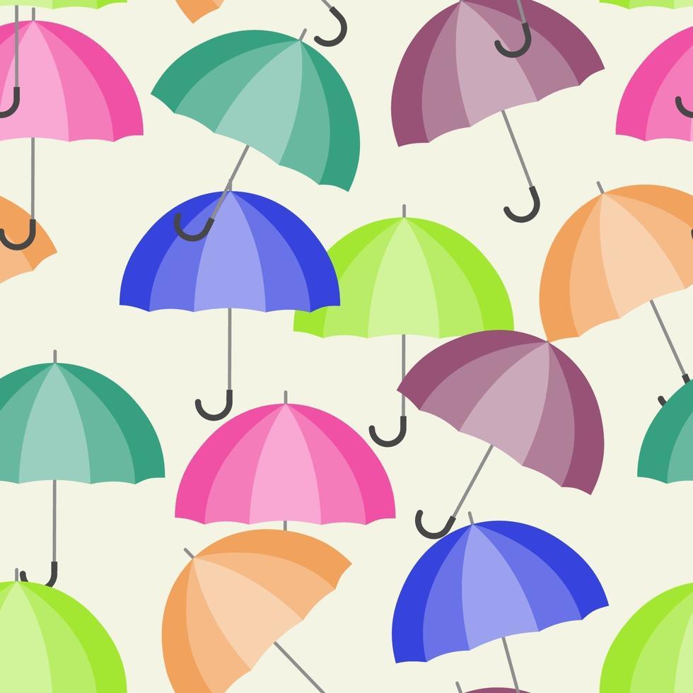 Un patrón sin costuras con sombrillas abiertas multicolores. vector