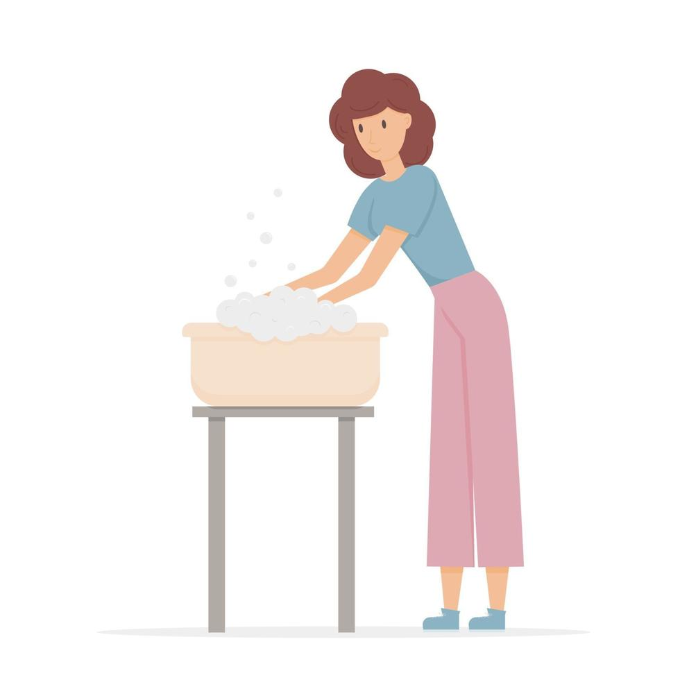 The girl washes in the basin. Vector flat character on a white background
