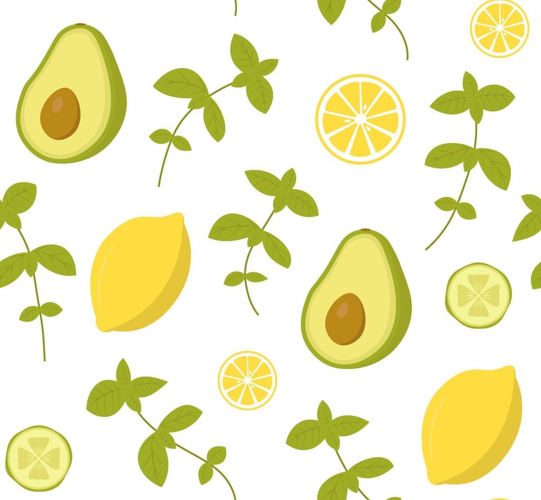 vector de patrones sin fisuras con aguacate, pepino, limón y albahaca. perfecto para papel tapiz, fondo, papel de regalo o textil. verduras, frutas y hierbas sobre fondo blanco.