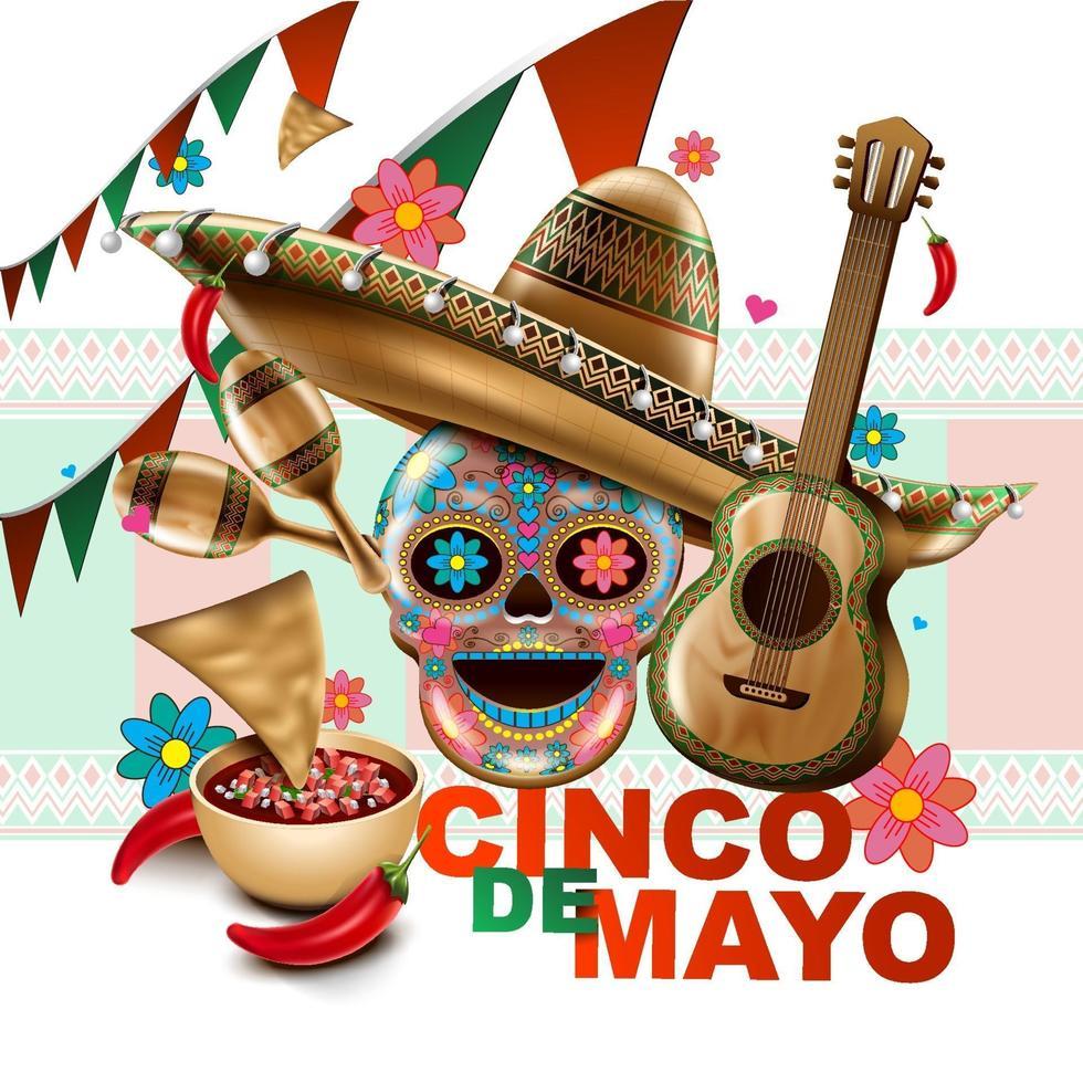 fiesta mexicana del cinco de mayo. sombrero sombrero, maracas y tacos y comida festiva con los colores de la bandera de méxico. ilustración vectorial. vector