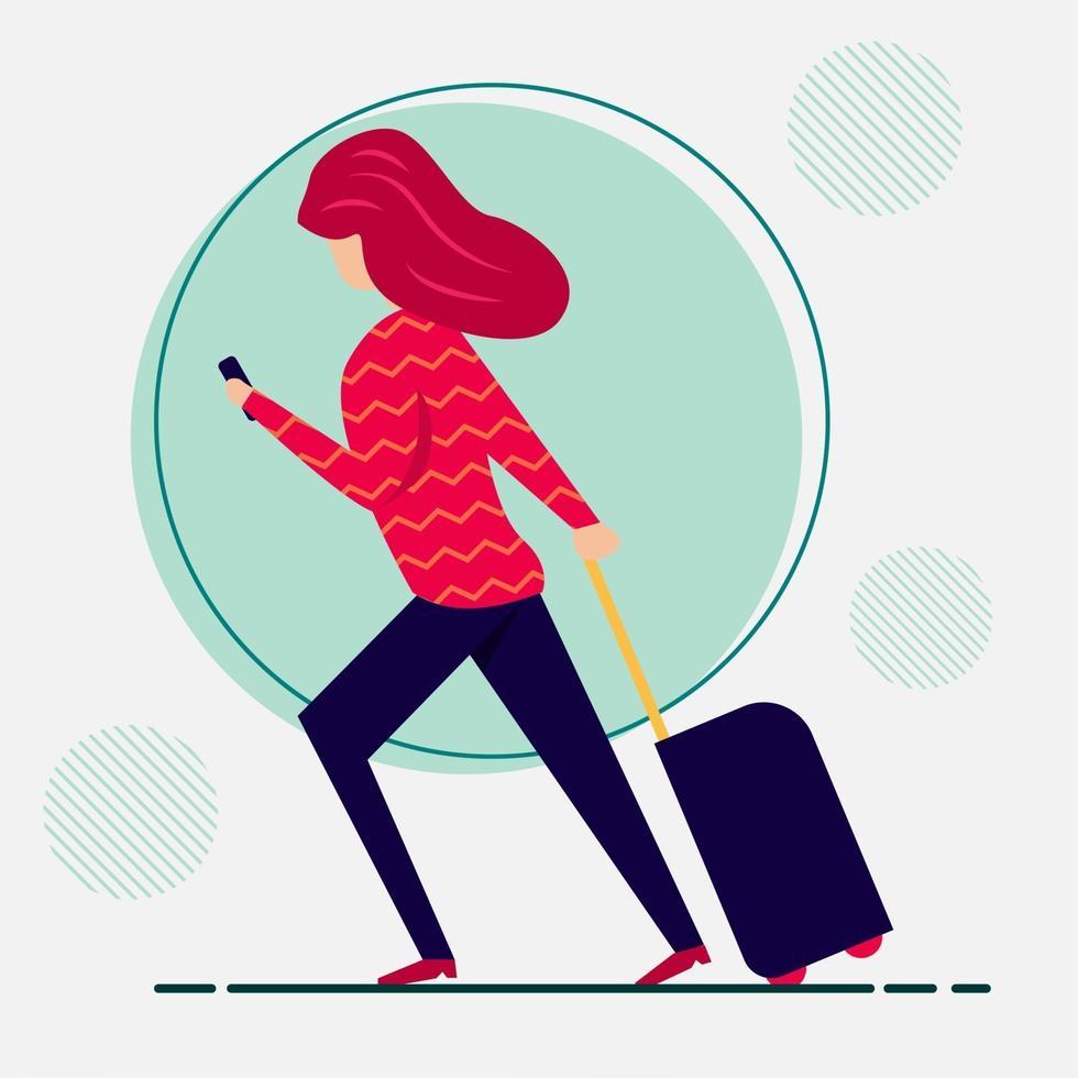mujer joven viajando ilustración en estilo plano vector