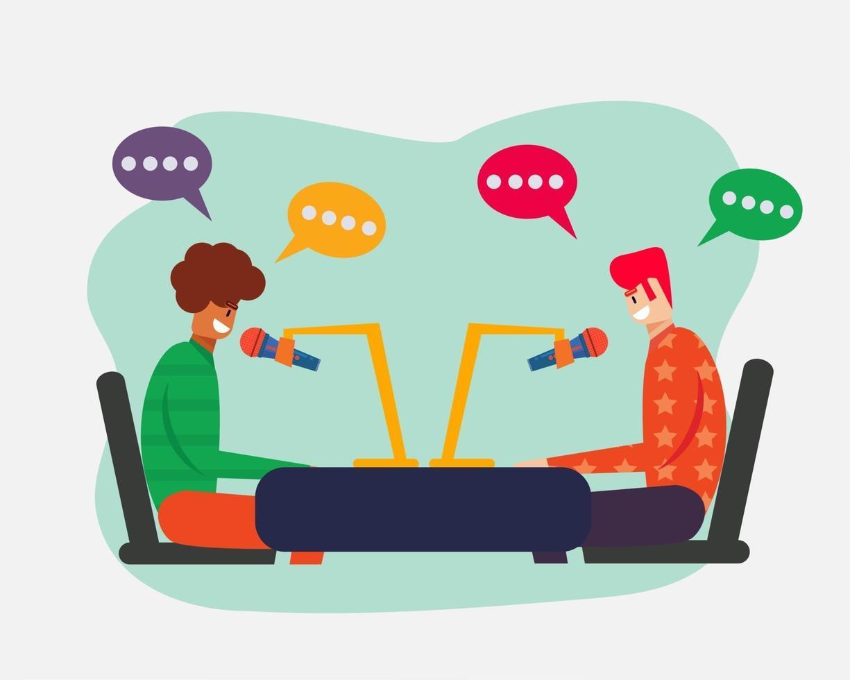 Ilustración de concepto de colaboración de podcast en estilo plano vector
