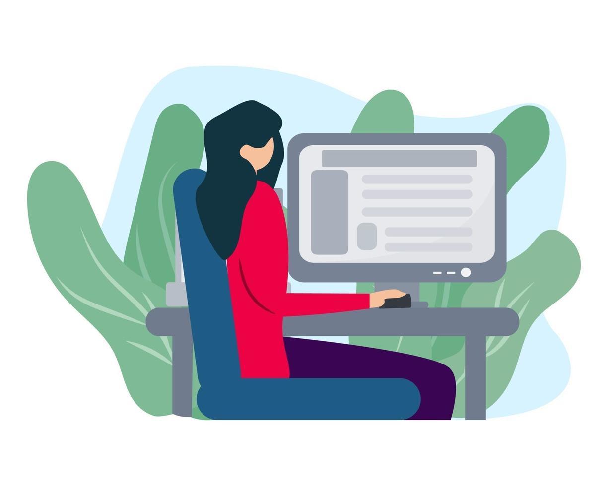 mujer con computadora ilustración en estilo plano vector