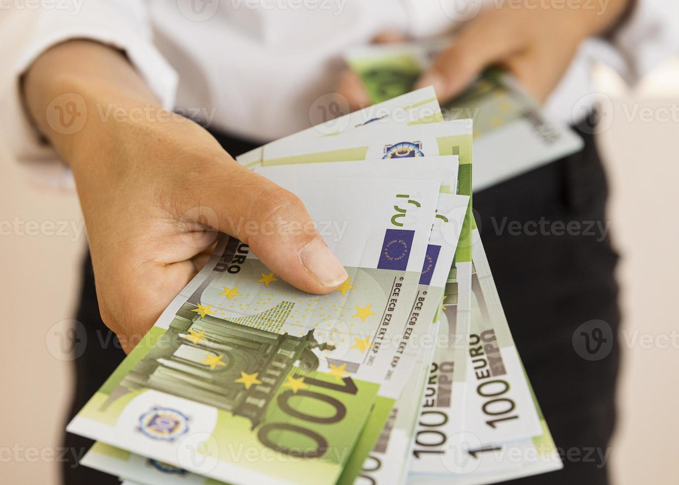 Cash in hand, economic crisis concept photo