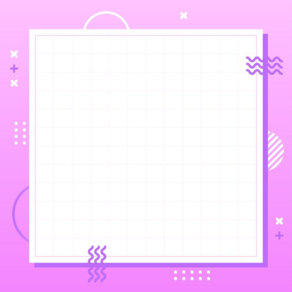 estilo de geometría de memphis púrpura pastel en escala cuadrada. Fondo colorido abstracto creativo. plantilla simple para publicidad con espacio de copia de texto. ilustración de diseño gráfico lindo moderno de moda. vector