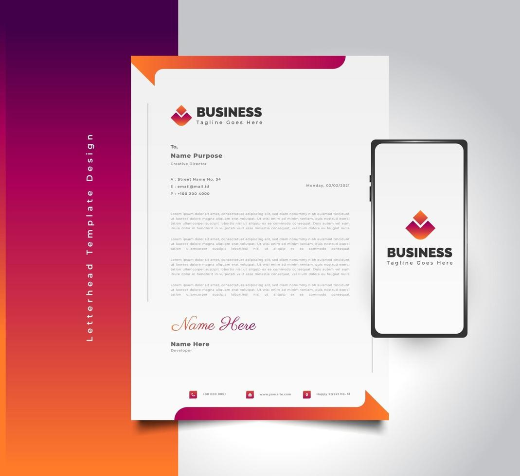 Modern Business Letterhead Template Design in Colorful Futuristic Concept With Smartphone on Side vector