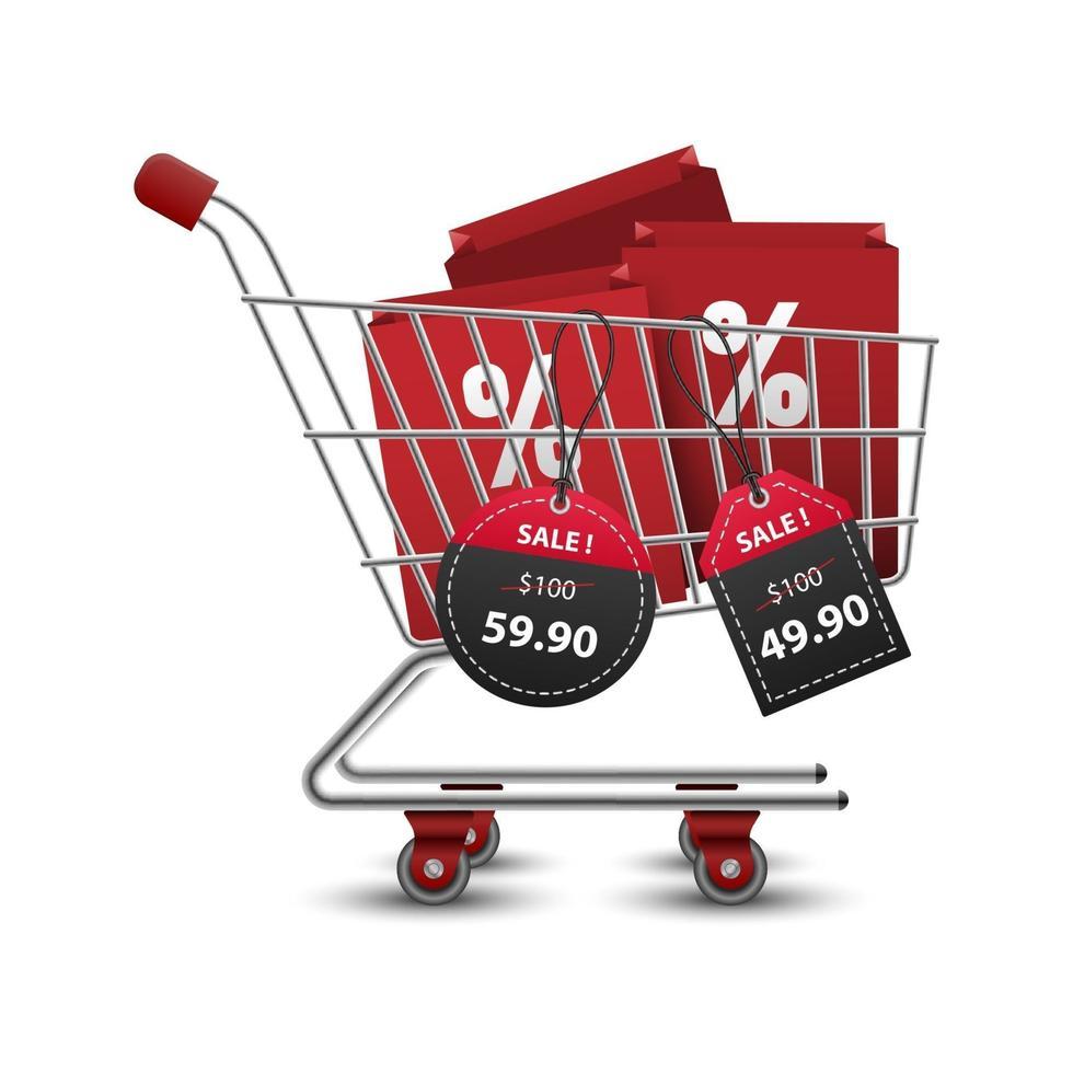 Carritos de la compra llenos de bolsas de la compra con etiquetas de precio de papel rojo y negro 3d venta, ilustración vectorial vector