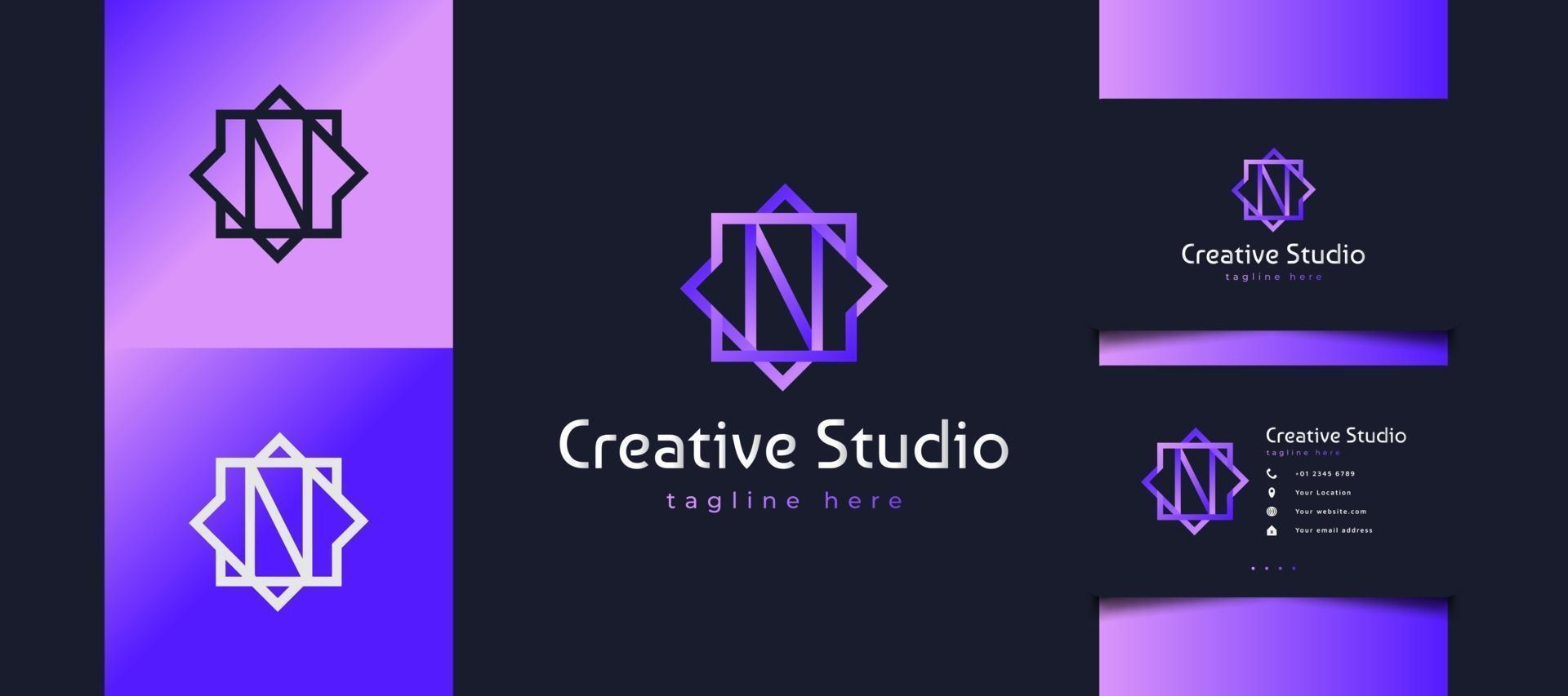 Logotipo inicial de la letra n en degradado púrpura con estilo de línea vector
