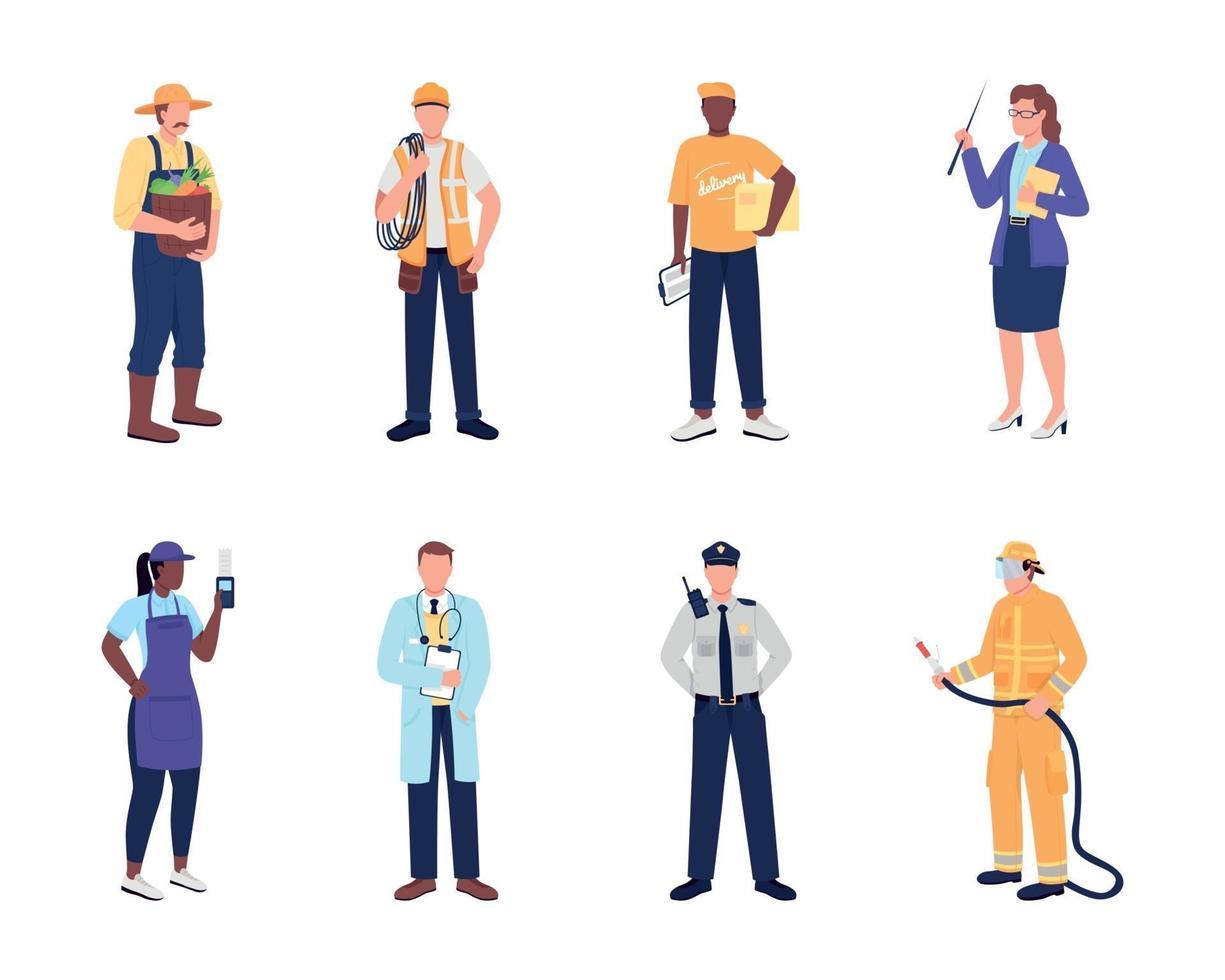 conjunto de caracteres sin rostro de vector de color plano de trabajador esencial
