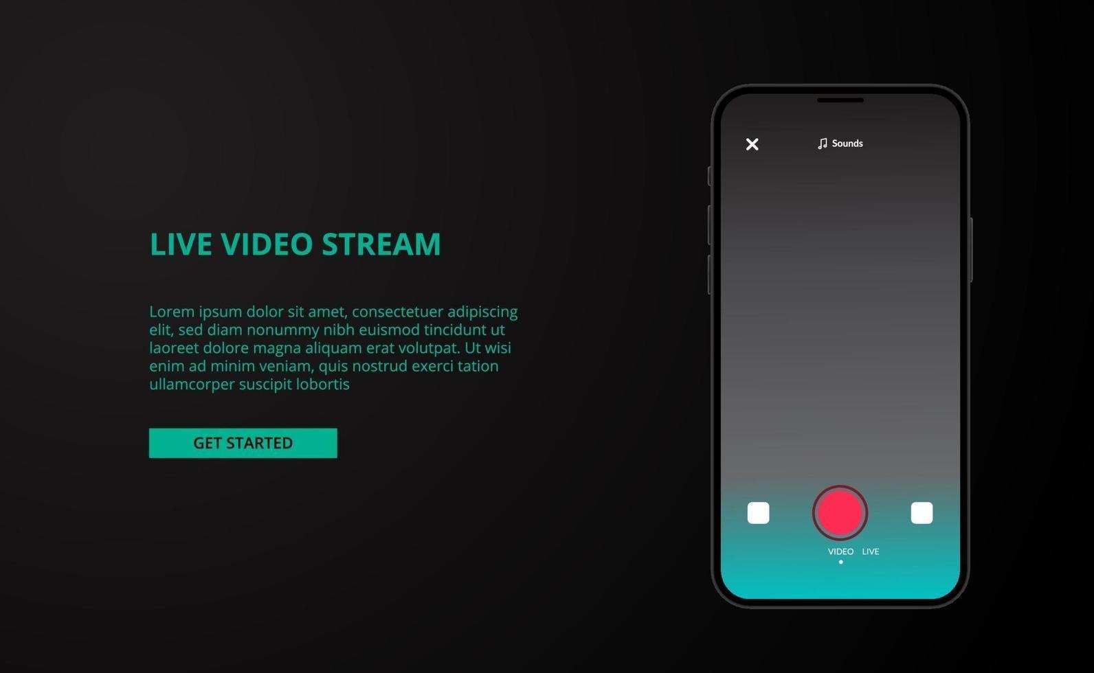 Plantilla de redes sociales de transmisión en vivo en línea para entretenimiento de música de video en vivo con maqueta de dispositivo telefónico vector