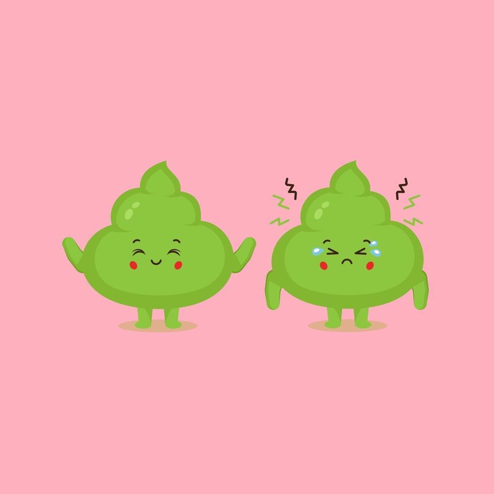 lindo personaje de wasabi con sonrisa y tristeza vector