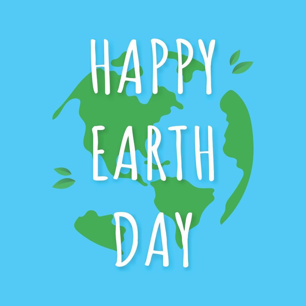Texto de letras feliz día de la tierra con el globo sobre un fondo azul vector
