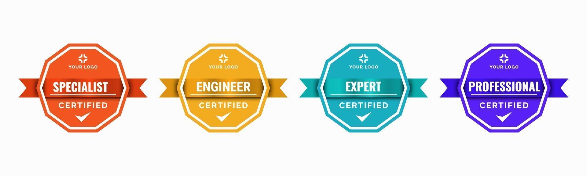 conjunto de certificados de insignia de capacitación de la empresa para determinar en función de criterios. Ilustración de vector colorido vintage moderno verificado estándar.