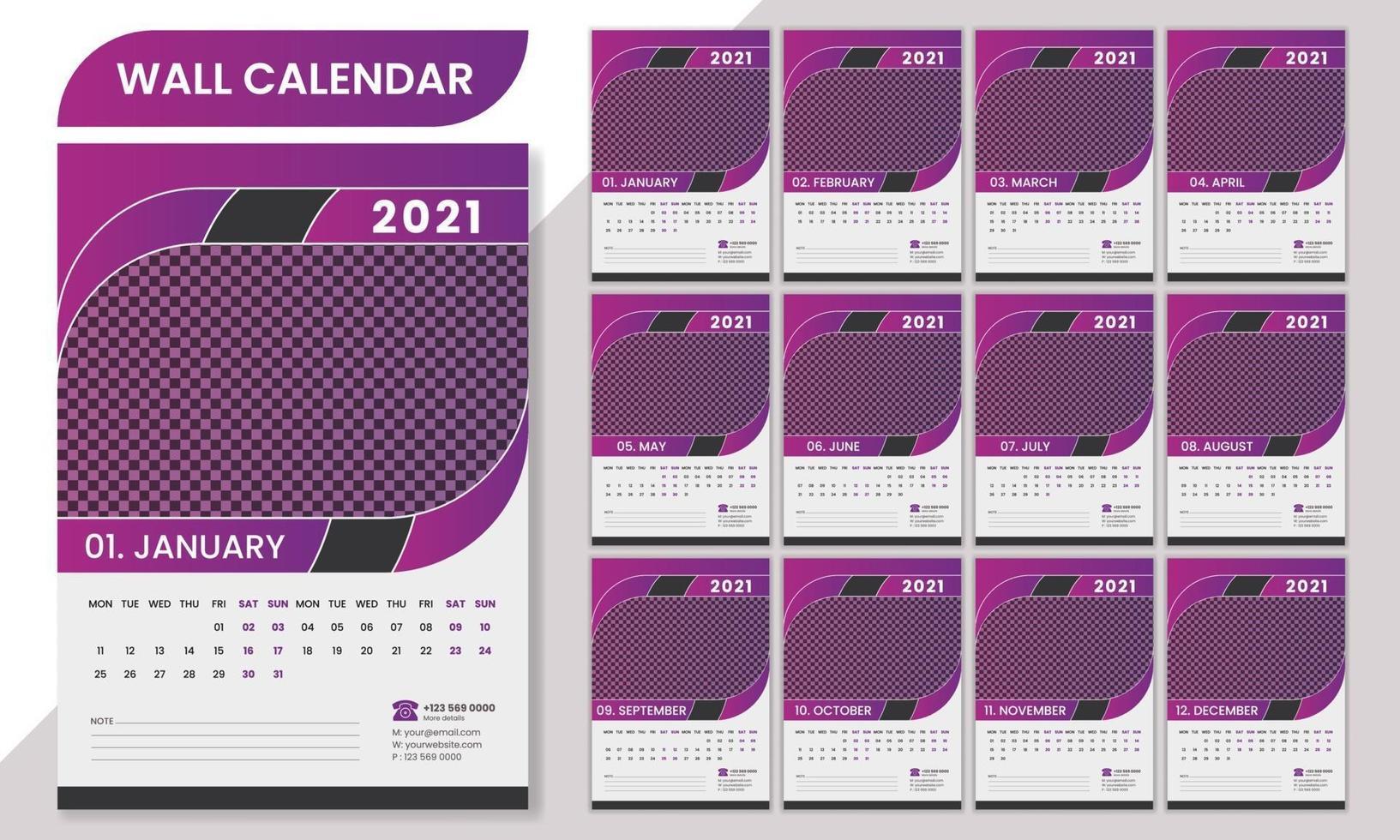 Diseño de plantilla de calendario de pared profesional mínimo 2021. vector