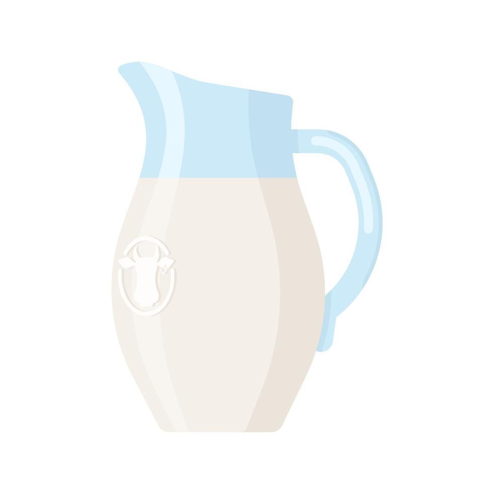 icono de estilo plano de jarra de leche aislado sobre fondo blanco vector