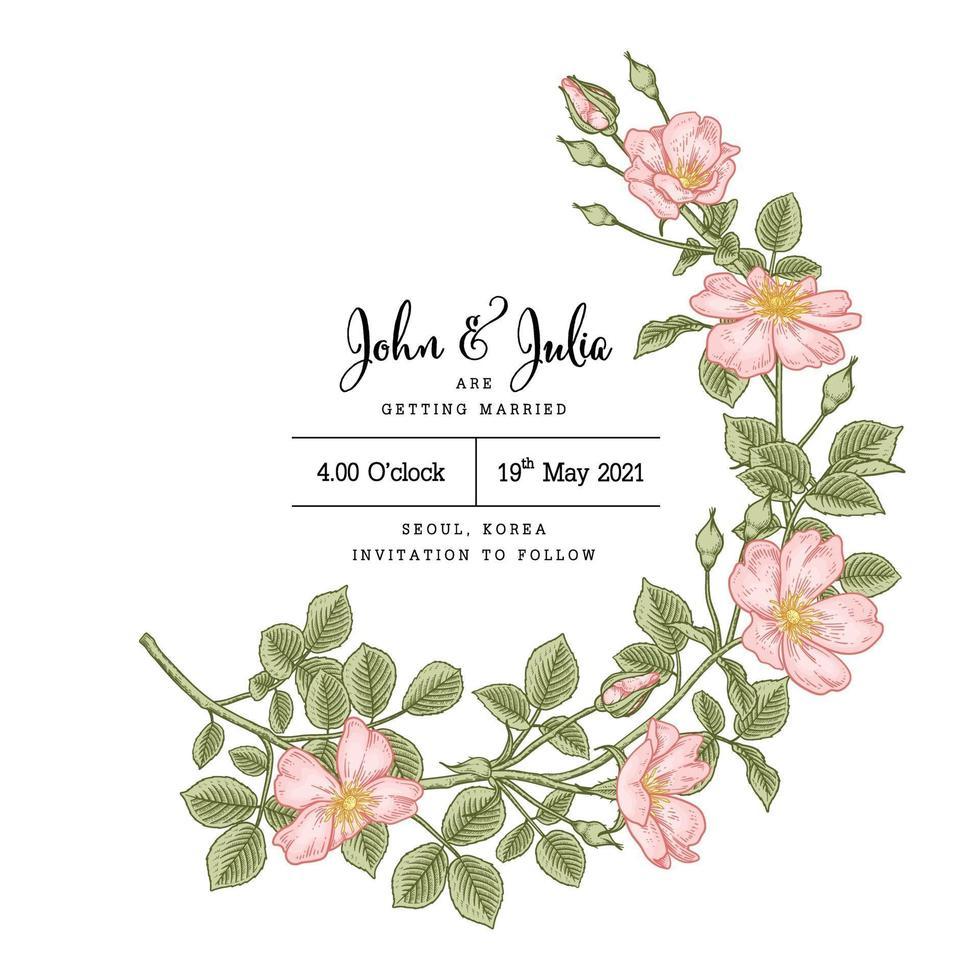 plantilla de tarjeta de invitación rosa perro rosa o rosa canina flor dibujado a mano ilustración botánica vector
